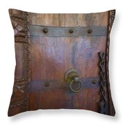 Old Vintage Door With Chain Throw Pillow