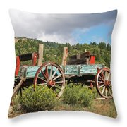 Old Wagon Along The Road Throw Pillow