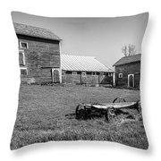 Old Wagon And Barns Throw Pillow