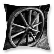 Old Wagon Wheel Black And White Throw Pillow