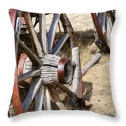 Old Wagon Wheels From Montana Throw Pillow by Jennie Marie Schell