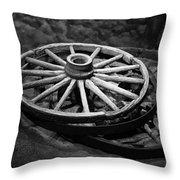 Old Wagon Wheels Throw Pillow