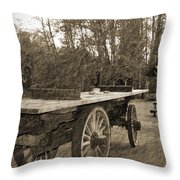 Old Wagon With Antique Water Wheel Throw Pillow