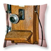 Old Wall Telephone Throw Pillow