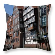 Old Warehouses Port Of Hamburg  Throw Pillow