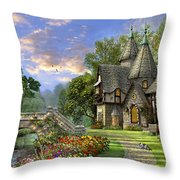 Old Waterway Cottage Throw Pillow