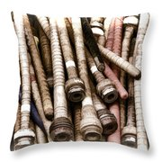 Old Weaving Spools Throw Pillow