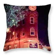 Old Wedge Bank  Building  Haunted Alton Ill Throw Pillow