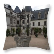 Old Well And Courtyard Chateau Chaumont Throw Pillow