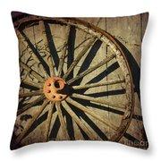 Old West Wagon Wheel Throw Pillow