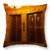 Old Westinghouse Elevators At The Brown Palace Hotel In Denver Throw Pillow