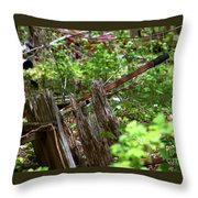 Old Wheelbarrow In The Weeds Throw Pillow