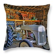 Old White Ford Tractor Throw Pillow