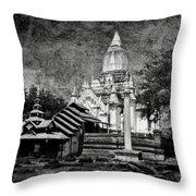 Old Whitewashed Lemyethna Temple Bw Throw Pillow
