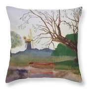 Old Willow And Boat Throw Pillow