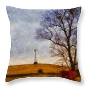 Old Windmill On The Farm Throw Pillow
