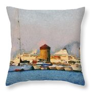 Old Windmills And Cruise Ship Throw Pillow