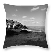 Old Woman Creek - Black And White 3 Throw Pillow