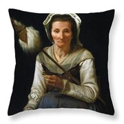 Old Woman Spinning, 1646-48 Throw Pillow