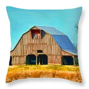 Old Wood Barn  Digital Paint Throw Pillow