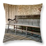 Old Wood Bench Throw Pillow