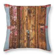 Old Wood Door With Six Red Hinges Throw Pillow