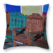 Old Wooden Benches Throw Pillow by Garry Gay