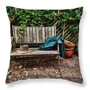 Old Wooden Garden Bench  Throw Pillow