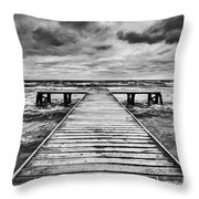 Old Wooden Jetty During Storm On The Sea Throw Pillow