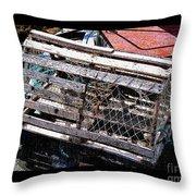 Old Wooden Lobster Pot Throw Pillow