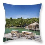 Old Wooden Pier Of Koh Rong Island In Cambodia Throw Pillow