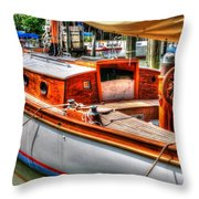 Old Wooden Sailboat Throw Pillow