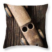 Old Wooden Vintage Toy Car Throw Pillow