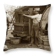 Old  Wooden Wine Press Circa 1910 Throw Pillow