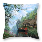 Old Woodland Cottage Throw Pillow