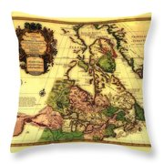 Old World Map Of Canada Throw Pillow
