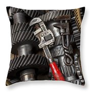 Old Wrenches On Gears Throw Pillow by Garry Gay