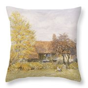Old Wyldes Farm Throw Pillow by Helen Allingham