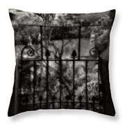 Olde Victorian Gate Leading To A Secret Garden - Peak District - England Throw Pillow