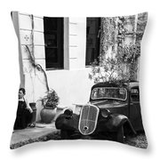 Oldtimer Ladies Throw Pillow