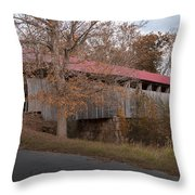 Oldtown Covered Bridge Throw Pillow