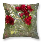 Oleander Blooms - A Touch Of Red Throw Pillow