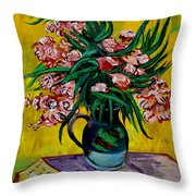 Oleanders Throw Pillow by Karon Melillo DeVega