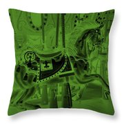 Olive Green Horse Throw Pillow