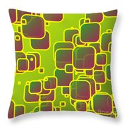 Olive Green Squares Throw Pillow
