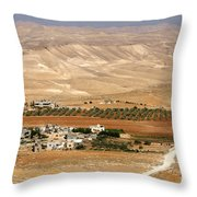 Olive Grove Near Hebron Throw Pillow