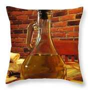 Olive Oil On Table Throw Pillow