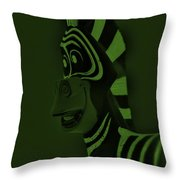 Olive Zebra Throw Pillow