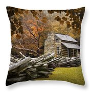 Oliver's Log Cabin During Fall In The Great Smoky Mountains Throw Pillow