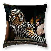 Olivia Wild And The Tiger Throw Pillow
